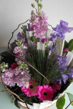 Lila/rose bloemen