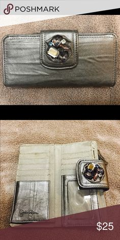 Jessica Simpson Wallet Authentic Jessica Simpson Metallic Wallet With Gem Detailing! Features 2 zipper pockets, 10 card slots, Clear ID slot & 2 dollar bill size pockets! Jessica Simpson Bags Wallets