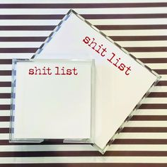 OUR BEST SELLING PAD! Shit List is the perfect gift! Lucite Tray, Great Gifts, Things To Come, This Or That Questions, Humor, Paper, How To Make, Cheer, Humour