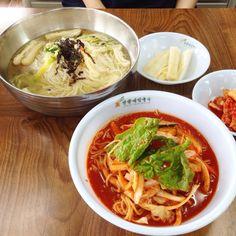 Spicy noodle & noodle soup. #noodle #food #Korea #KoreanFood #koreannoodle #foodstagram #ilsan #goyang