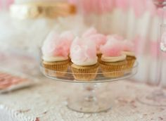 Watercolor Bridal Shower from Liz Banfield - Cupcake Pink Ideen Cotton Candy Cupcakes, Cute Cupcakes, Fluffy Cupcakes, Cupcake Recipes, Cupcake Cakes, Cup Cakes, Cupcake Ideas, Cupcake Toppers, Yummy Treats
