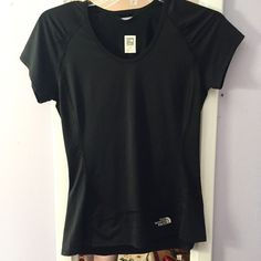 Black north face shirt Comfy stretchy north face shirt. Small pocket on back right. Good for hiking or sports or skiing etc. never used. Good quality athletic/nature wear. True to size. Women's XS. YES I bundleNO TRADES EVER no low balls. Don't ask to trade I will say no even if I love your closet. Negotiable ONLY USE OFFER BUTTON North Face Tops Tees - Short Sleeve