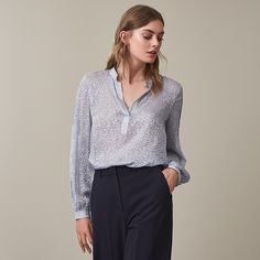 Brie  Burnout Animal-Pattern Blouse - REISS : The brie burnout animal-pattern blouse in  plays its part in our iconic blouses