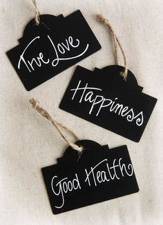 Black Chalkboard Tags w/Twine (Pack of 12)