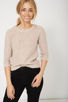 High Street Fashion Beige Textured Ladies Jumper Sweater