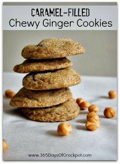 Chewy, caramel-filled, soft ginger cookies. These cookies are so ...