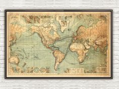 Great Vintage World Map in 1882 - product image