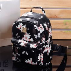 00db0ca518f8 Women Cute School Bags Backpack Mini 2016 Fashion Back Pack Floral Printing  Black Small PU Leather Backpack For Teenagers Girls