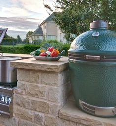 Mounted Big Green Egg On Custom Outdoor Kitchen Design
