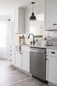 Softening the Farmhouse - Touches of lace and other feminine fabrics soften this beautiful farmhouse for easy summer style. Farmhouse Style Kitchen, Rustic Kitchen, Kitchen Decor, Kitchen Ideas, Farmhouse Kitchens, Kitchen Designs, Kitchen Interior, Green Kitchen, Kitchen Colors