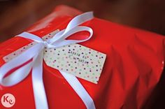 wrapping up presents-red and washi tape
