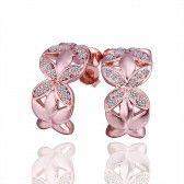 18K Rose Gold Plated Zircon CZ Crystal Rhinestone Flower Stud Earring