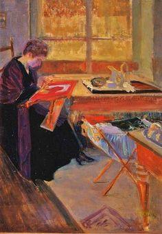 Femme à sa broderie. Huile sur toile en 1909 de William HEKKING (américain 1885-1970)