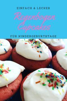 Bunte und leckere Regenbogen Cupcakes für den nächsten Kindergeburtstag! Einfach zu backen, aber ein besonderer Hingucker für Kinder. Das bunte Innenleben ist ein Highlight auf jeder Party!
