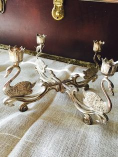 Antique Swam Candlestick Holder Metal by ShabbyVintageCouture