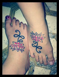 Matching lotus flower tattoos with my sister!