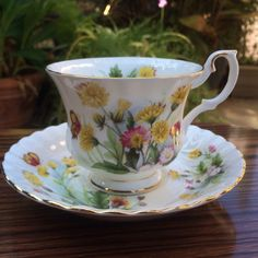 Royal Albert Country Life Series, Meadow Field Pattern Bone China, Tea Cup and Saucer