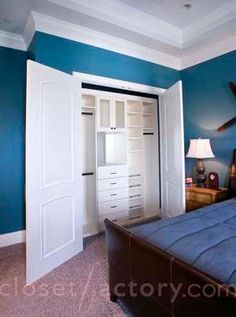 Blue+Bedroom+Reach-in+Closet+with+French+Doors