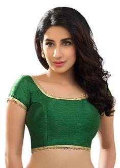 Beautiful Green Dupion Silk Saree Blouse SNT-X-287-SL