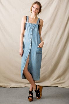 Vintage Midi Denim Overall Dress - Urban Outfitters