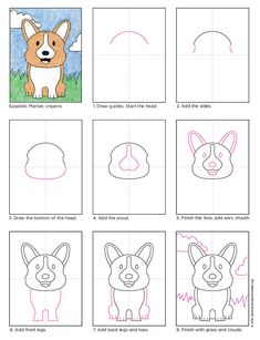 Draw a Corgi Dog. PDF tutorial available for download. #howtodraw #directdraw #corgi