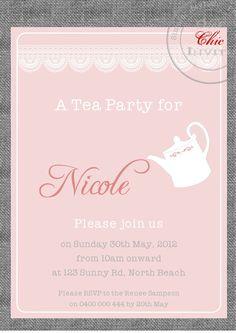Tea Party Shower Invitation Customised DIY Printable. $14.00, via Etsy.