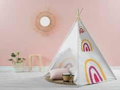 For a bright and fun Kids play tent, choose the Henley Teepee - Rainbow. Any child will love to while away the hours in their very own play teepee! Play Teepee, Teepee Kids, Preschool Furniture, Kids Furniture, Rainbow Quilt, Creative Play, Quilt Cover Sets, Kids Bedroom, Bedroom Ideas
