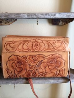 Vintage leather carved handbag