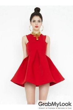 GrabMyLook Red Pleated Round Neck Sleeveless Flare Mini Party Dress