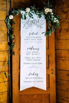 Take a look at 15 absolutely stunning buffet wedding menu ideas in the photos below and get ideas for your wedding! Wedding Buffet Menu Ideas Cheap — Wedding Ideas, Wedding Trends, and Wedding Galleries Image source Wedding Buffet Menu, Wedding Signage, Wedding Reception, Wedding Backyard, Wedding Catering, Rustic Wedding Menu, Catering Menu, Industrial Wedding, Wedding Table