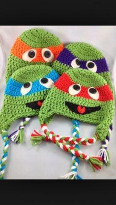 Ninja turtles crochet hats