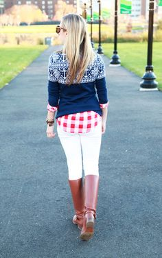 Love this look for winter casual! Fair Isle sweater with gingham and white pants with riding boots