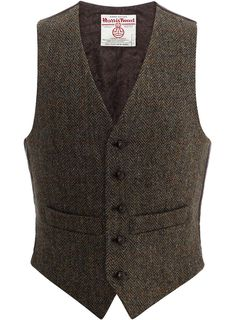 Iain Waistcoat in Dark Brown & Overcheck | Harris Tweed