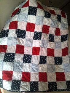 Red White and Blue Baby quilt by SweetHelens on Etsy, $45.00