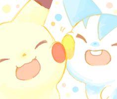 Pikachu, Pachirisu (by polkadot, drawr) Baby Pokemon, Pokemon Manga, Cute Pokemon, Cute Animal Drawings, Kawaii Drawings, Pokemon Special, Pokemon Memes, Nerd Love, Pokemon Pictures