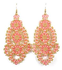 Flamenco Earrings are feminine, extremely trendy and resemble cut out lace. They are made using a variation of right angle weave. Each kit includes all of the c