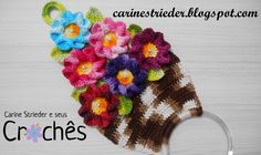 Carine Strieder and her crochet: Videoaula - Dish Cloth Door Basket of Flowers Crochet Doilies, Crochet Flowers, Crochet Hats, Crochet Home Decor, Crochet Kitchen, Crochet Videos, Flower Basket, Crochet Accessories, Diy Gifts