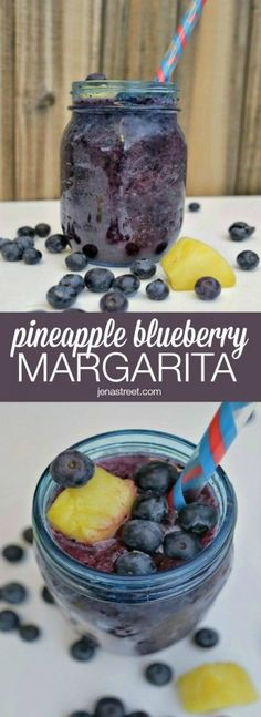 It's National Margarita Day! Serve up this Pineapple Blueberry Margarita in mason jars! Frozen, fruity, margarita-y so many things to love about this Pineapple Blueberry Margarita! Party Drinks, Cocktail Drinks, Cocktail Recipes, Drink Recipes, Fruity Drinks, Frozen Drinks, Punch Recipes, Healthy Recipes, Blueberry Margarita