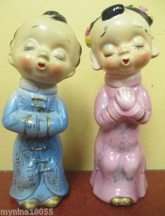 Vintage Japanese Boy Girl Kissing Salt Pepper Shakers |