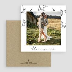 Carte de remerciements champêtre avec photo à personnaliser #remerciements #mariage #mariagechampêtre #remerciementmariage