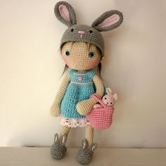 Lily doll with rabbit hat and accessories
