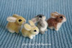 Needle felted bunny family by SaniAmaniCrafts.deviantart.com on @deviantART
