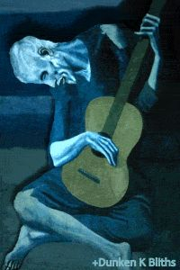 The Old Guitarist, 1903 by Pablo Picasso. Blue period.