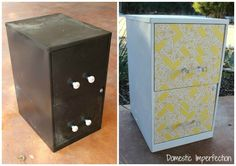 Awesome file cabinet DIY makeover using paint, scrapbook paper, and mod podge. Diy Furniture Projects, Recycled Furniture, Furniture Makeover, Diy Projects, Furniture Design, Painting Metal Cabinets, Painted File Cabinets, Filing Cabinets, Diy File Cabinet