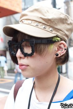 lego glasses, piercings, and hat