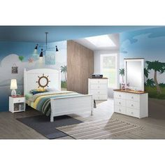 Discover the best coastal bedroom furniture sets, which includes matching coastal beds, beach dressers, coastal headboards, beach nightstands, and more. Wood Bedroom, Bedroom Furniture Sets, Bedroom Themes, Bed Furniture, Bedroom Sets, Kids Bedroom, Living Room Vanity, Panel Bed, Panel Headboard