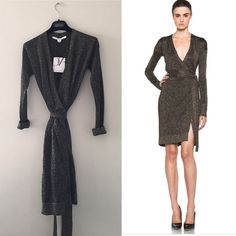 BNWT DVF fosette metallic wrap dress black gold A classic DVF wrap dress glitters with metallic threads, and the crossover silhouette is secured at the waist with a self belt. Long sleeves.  Fabric: Fine knit. 80% acetate/10% polyamide/10% polyester. Brand new with tag. Never worn Diane von Furstenberg Dresses Long Sleeve
