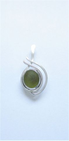 Sea Glass Jewelry - Sterling Olive Green Sea Glass Pendant by SignetureLine on Etsy
