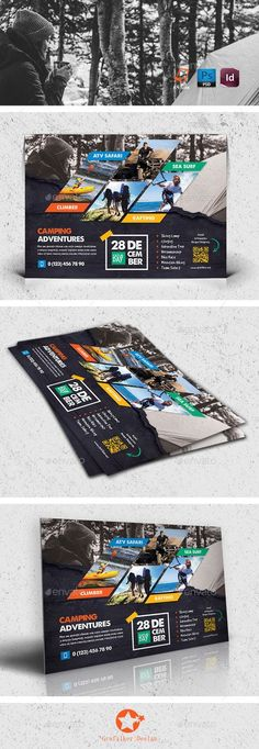 Buy Camping Adventure Flyer Templates by grafilker on GraphicRiver. Camping Adventure Flyer Templates Fully layered INDD Fully layered PSD 300 Dpi, CMYK IDML format open Indesign or. Brochure Design, Brochure Template, Flyer Template, Flyer Design, Banner Template, Business Postcards, Cool Business Cards, Corporate Flyer, Business Flyer