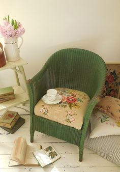 1930's Lloyd Loom chair with vintage Sandersons floral linen seat